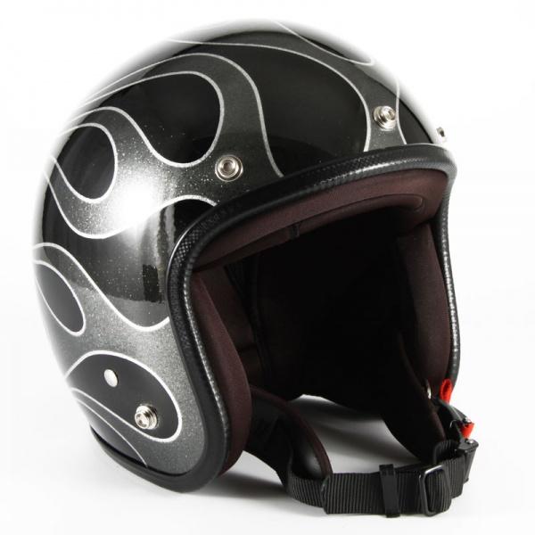 ジャムテックジャパン (72JAM) バイク用 ジェット ヘルメット JCPシリーズ FLAMES フレイムス (ブラック) フリーサイズ (57~60cm未満) JCP-42