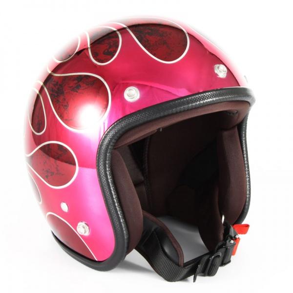 ジャムテックジャパン (72JAM) バイク用 ジェット ヘルメット JCPシリーズ FLAMES フレイムス T-2 (レッド) フリーサイズ (57~60cm未満) JCP-45