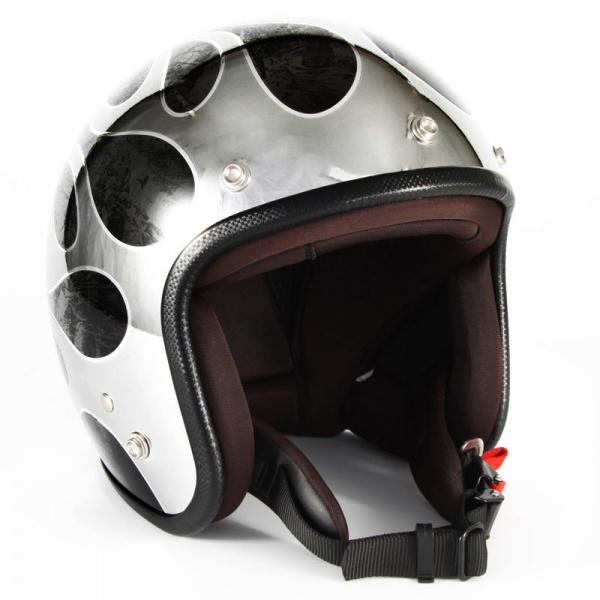 ジャムテックジャパン (72JAM) バイク用 ジェット ヘルメット JCPシリーズ FLAMES フレイムス T-2 (ブラック) フリーサイズ (57~60cm未満) JCP-46