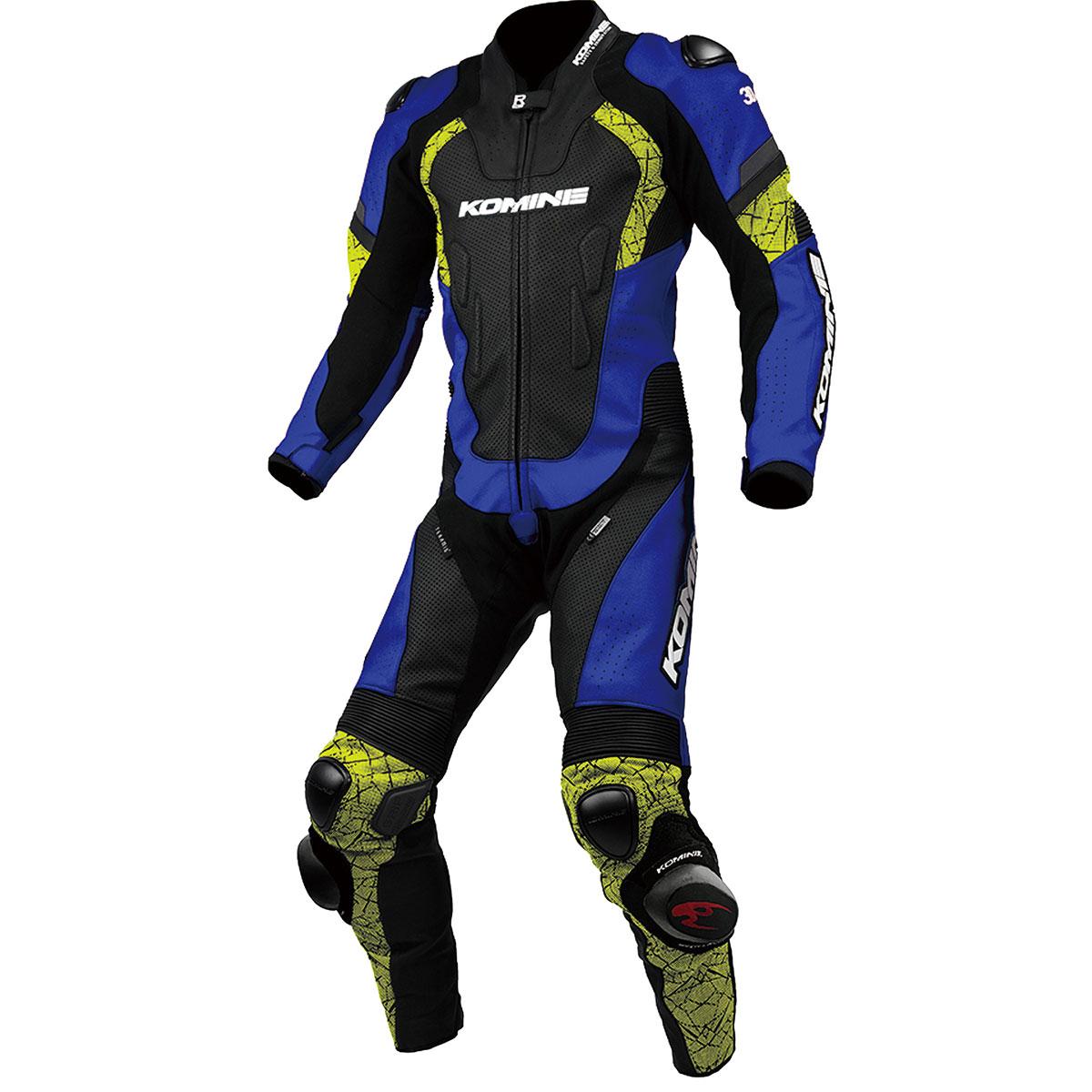 コミネ (Komine) バイク用 レザー & レーシングギア Leather & Racing Gear S-52 レーシングレザースーツ ブルー ネオン 青 XLサイズ 02-052/BL/N/XL