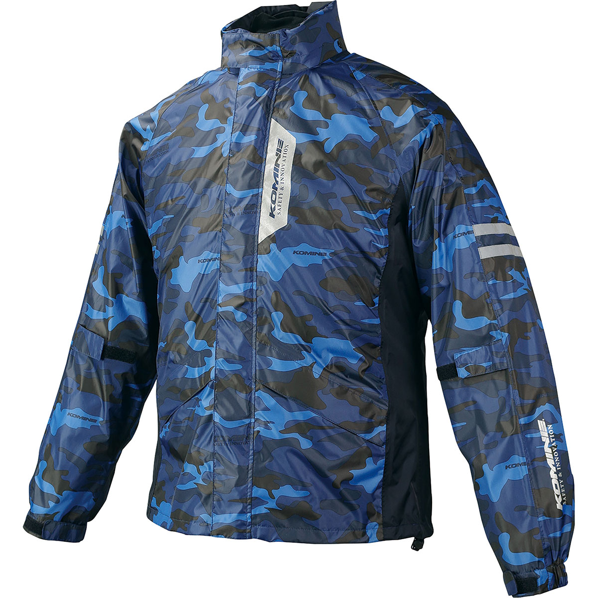 コミネ Komine バイク用 レインギア Rain gear RK-539 ブレスターレインウェア 03-539 お洒落 1着でも送料無料 XLサイズ BL カモ XL 迷彩 ブルー フィアート