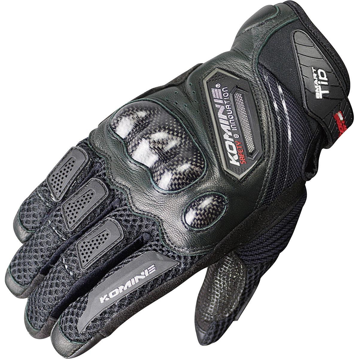 コミネ (Komine) バイク用 グローブ Gloves GK-167 カーボン プロテクトメッシュグローブ ブラック 黒 Sサイズ 06-167/BK/S