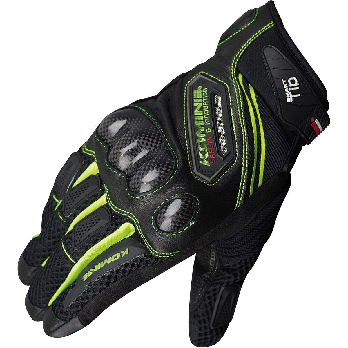コミネ (Komine) バイク用 グローブ Gloves GK-167 カーボン プロテクトメッシュグローブ ブラック ネオン 黒 Sサイズ 06-167/BK/NE/S