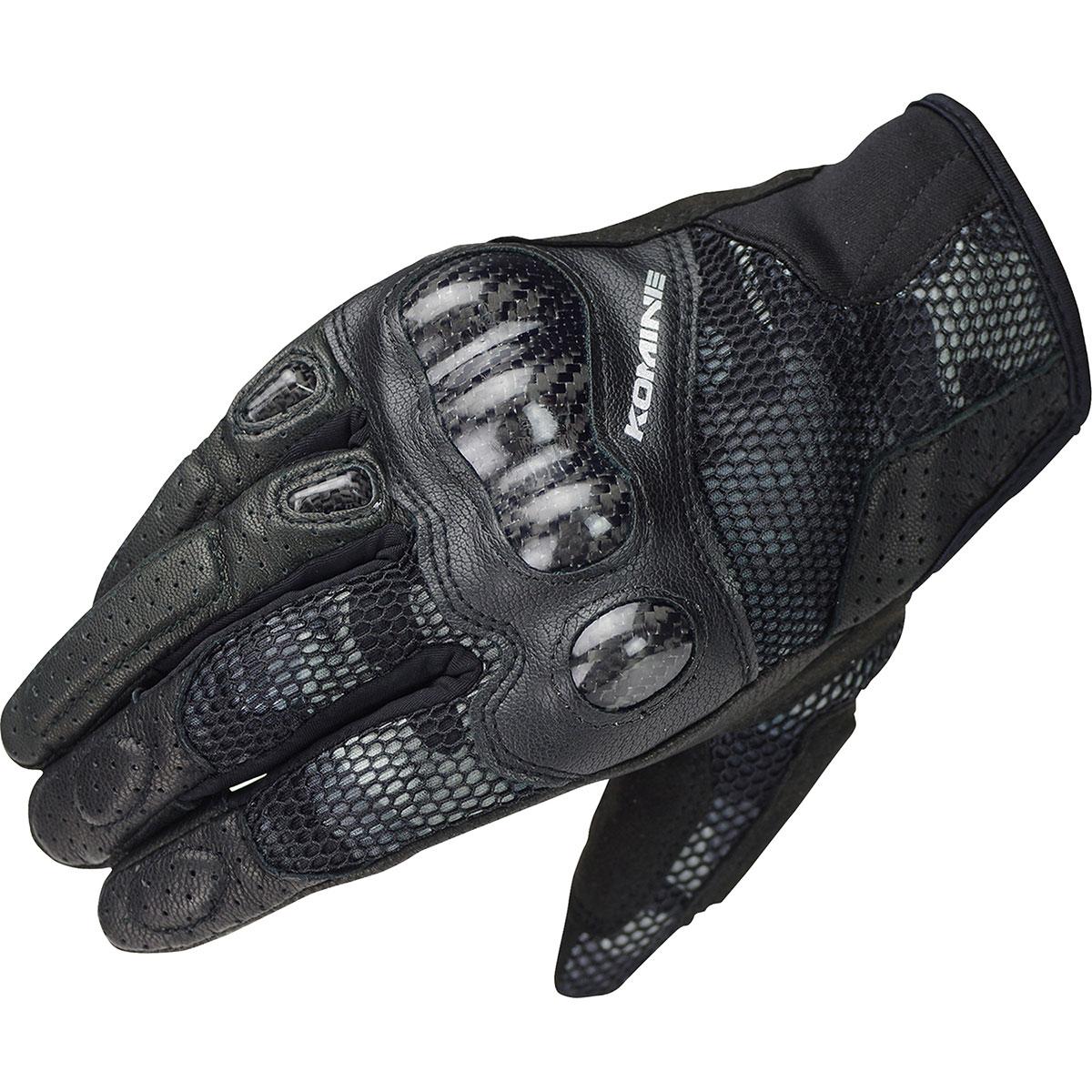 コミネ (Komine) バイク用 グローブ Gloves GK-197 カーボンプロテクト3Dメッシュグローブ-センナ 3D ブラック カモ 黒 迷彩 Mサイズ 06-197/3DBKCAMO/M