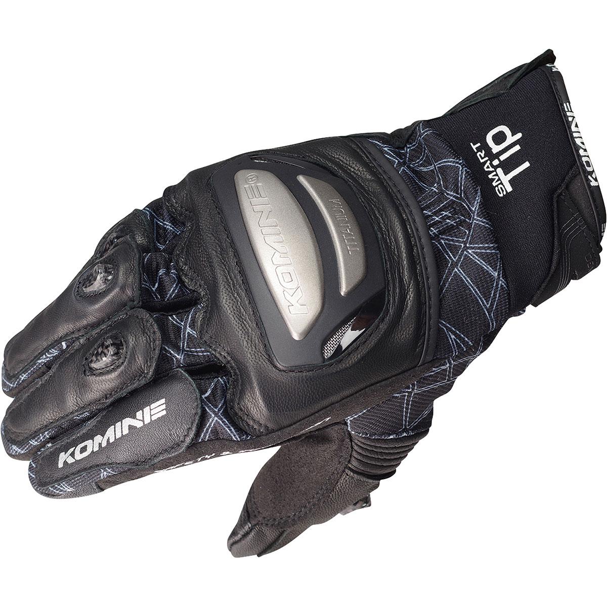 コミネ (Komine) バイク用 グローブ Gloves GK-214 チタニウムメッシュグローブ ブラック 黒 XLサイズ 06-214/BK/XL
