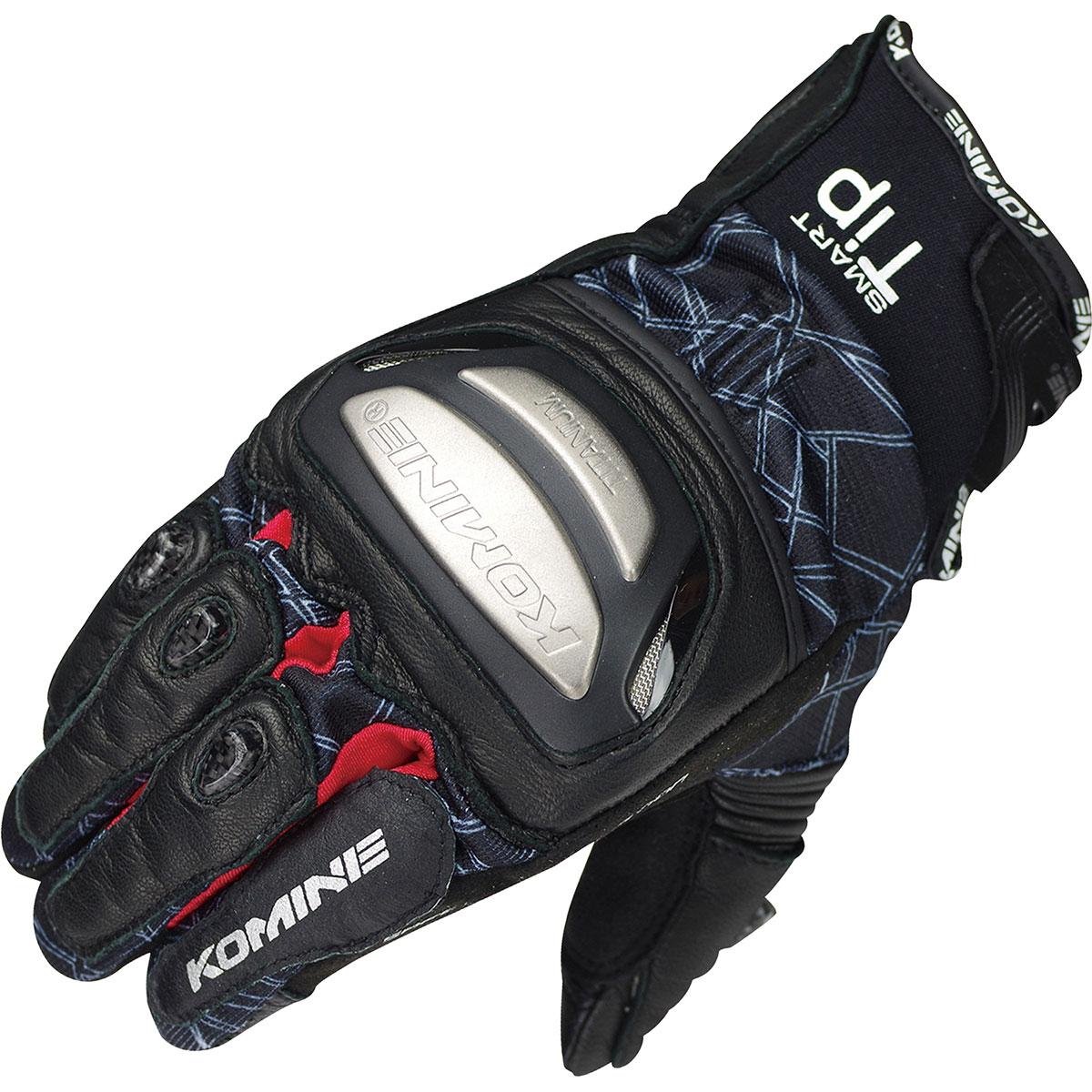 コミネ (Komine) バイク用 グローブ Gloves GK-214 チタニウムメッシュグローブ ブラック レッド 黒 赤 Lサイズ 06-214/BK/RD/L