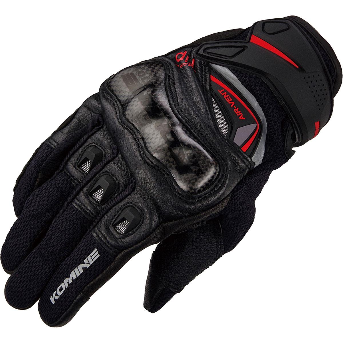 コミネ (Komine) バイク用 グローブ Gloves GK-224 カーボンプロテクトレザーメッシュグローブ ブラック 黒 2XLサイズ 06-224/BK/2XL