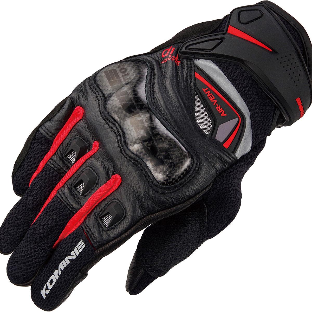 コミネ (Komine) バイク用 グローブ Gloves GK-224 カーボンプロテクトレザーメッシュグローブ ブラック レッド 黒 赤 Mサイズ 06-224/BK/RD/M