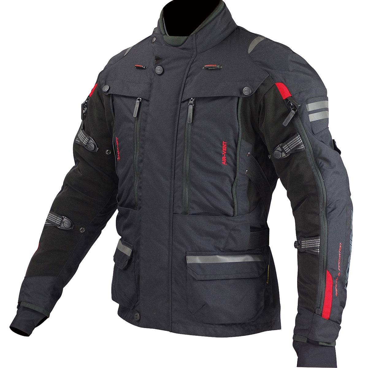 コミネ (Komine) バイク用 ジャケット Jacket JK-574 フルイヤーツーリングジャケット-ラーマ ブラック 黒 2XLサイズ 07-574/BK/2XL