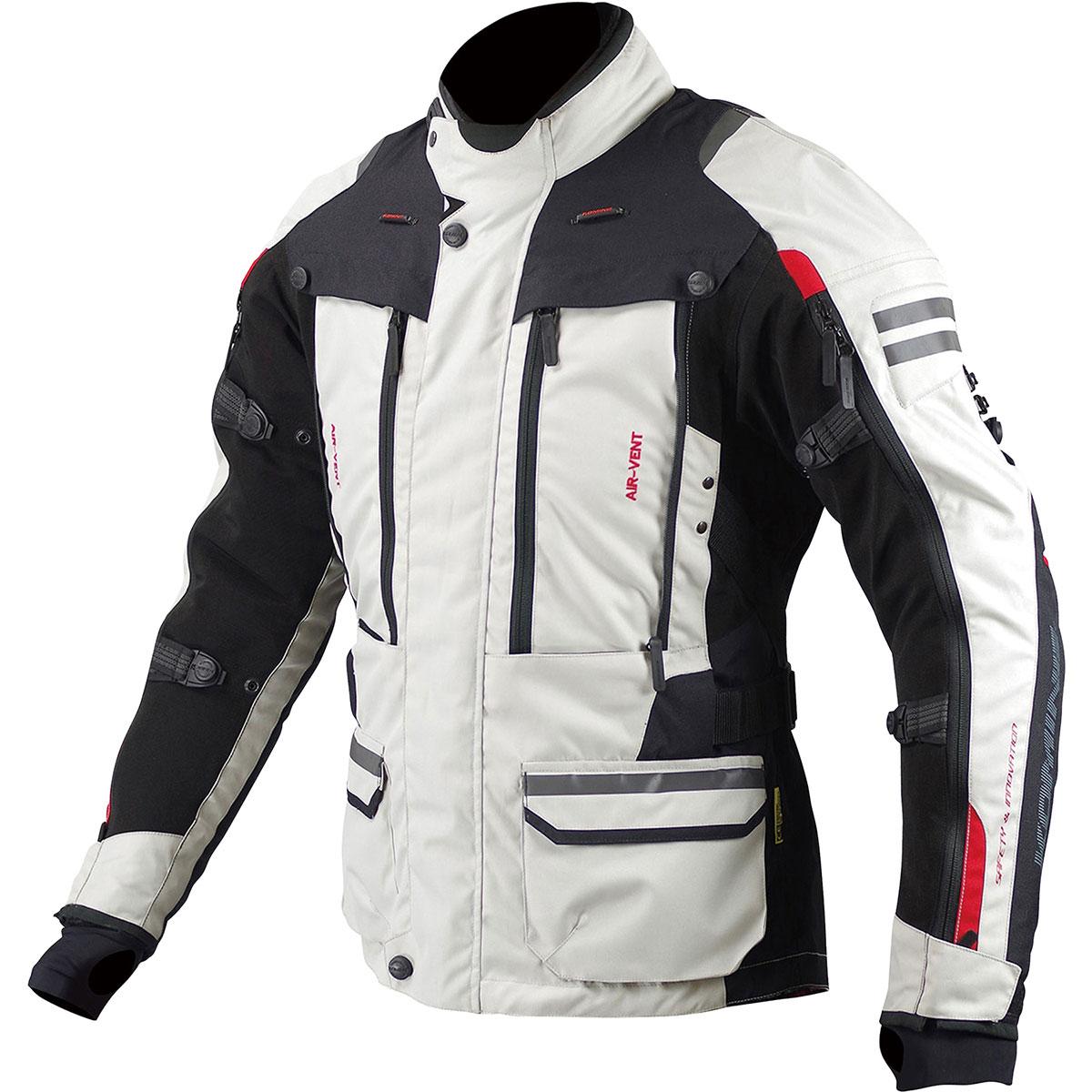 コミネ (Komine) バイク用 ジャケット Jacket JK-574 フルイヤーツーリングジャケット-ラーマ アイボリー ブラック 黒 XLサイズ 07-574/IV/BK/XL