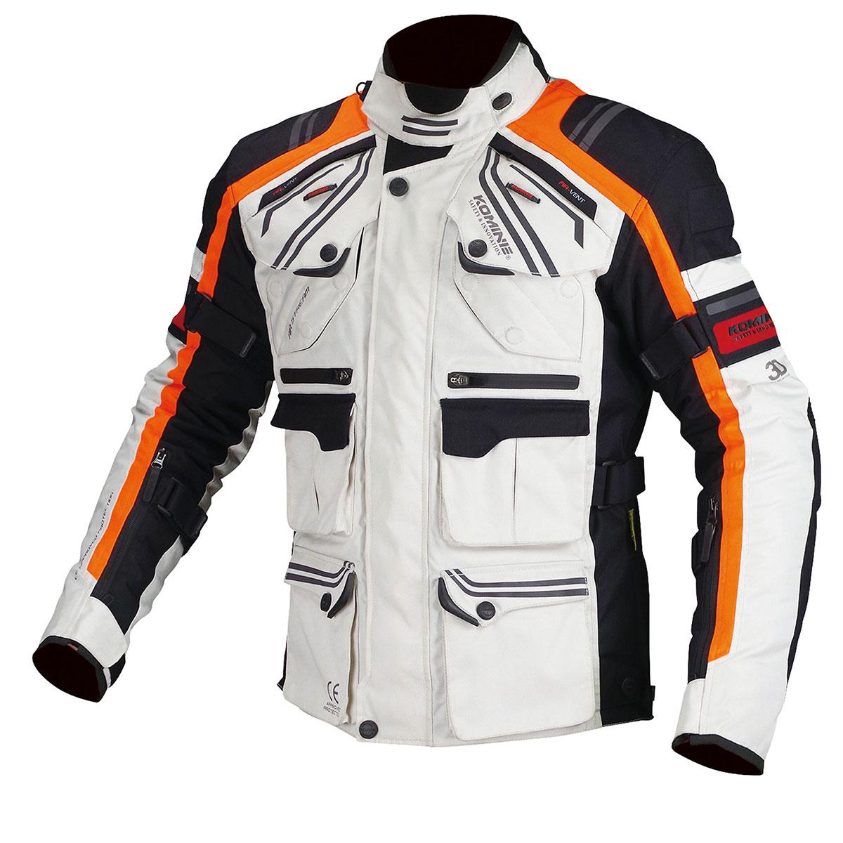 コミネ (Komine) バイク用 ジャケット Jacket JK-593 プロテクトフルイヤーツーリングジャケット ライト グレー オレンジ 灰色 橙 4XLBサイズ 07-593/LGY/OR/4XLB