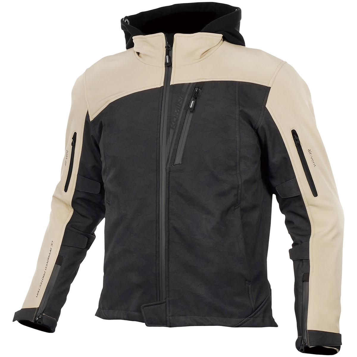 コミネ (Komine) バイク用 ジャケット Jacket JK-590 プロテクトソフトシェルウインターパーカ ブラックカモ/ベージュ Mサイズ 07-590/BK.CAMO-BE/M