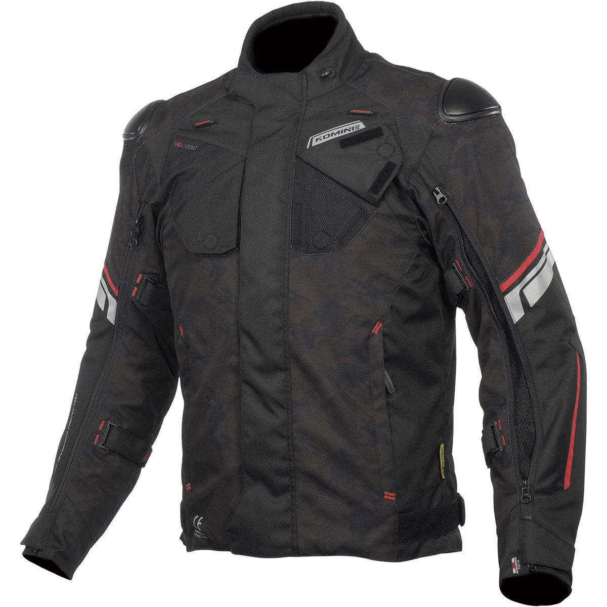 コミネ (Komine) バイク用 ジャケット Jacket JK-598 プロテクトフルイヤージャケット ブラックカモ/レッド 3XLサイズ 07-598/BK-CAM/RD/3XL