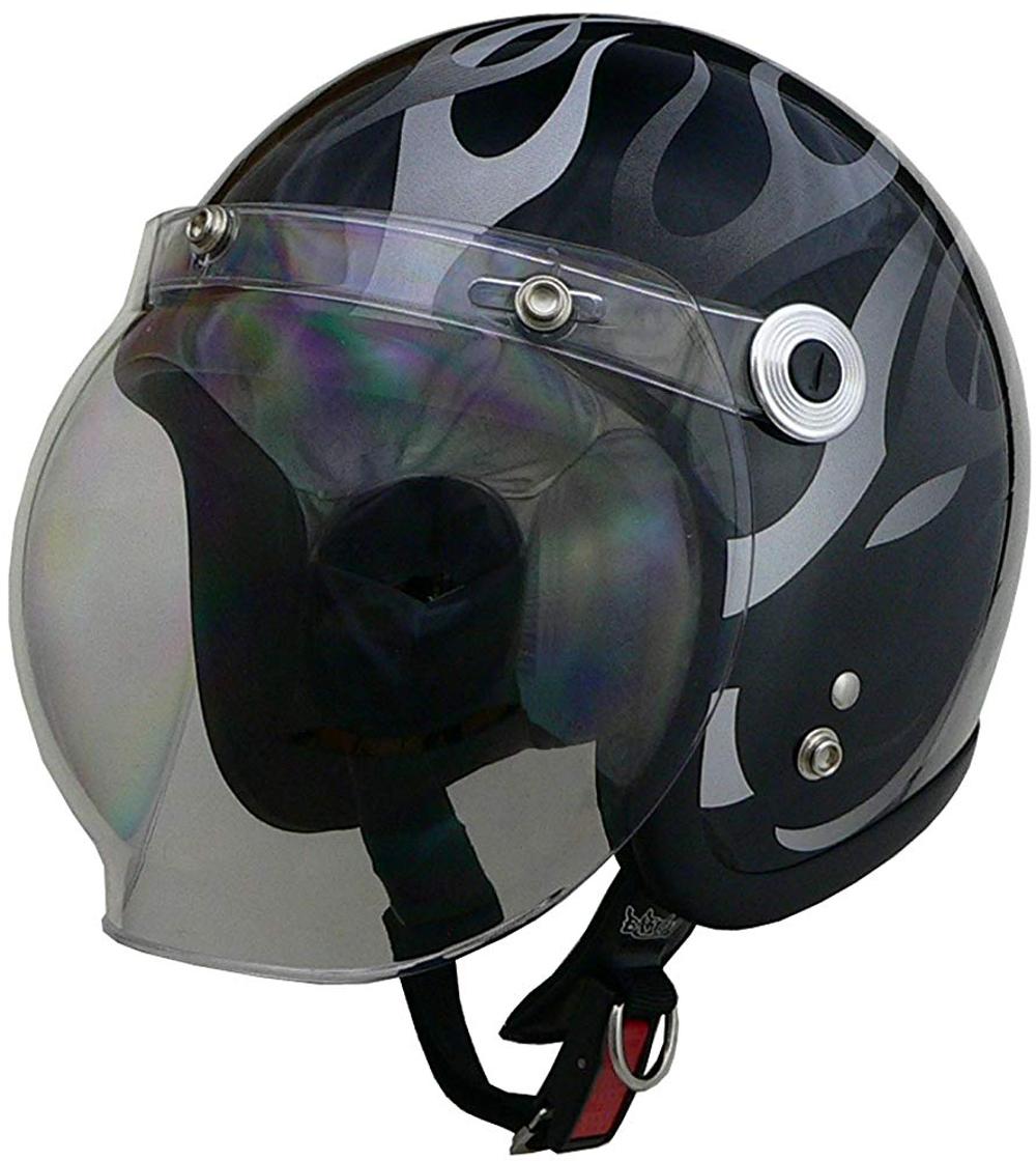リード工業 ジェットヘルメット BARTON BC-10 ブラックフレア フリーサイズ (57-60cm未満)