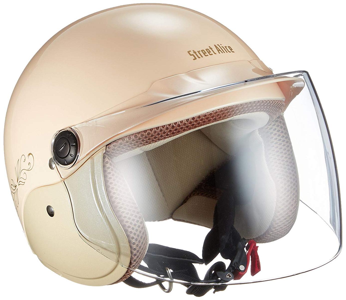 誕生日 お祝い リード工業 ジェットヘルメット 超激安 Street Alice 57-60cm未満 レディースフリーサイズ QJ-3 パールアイボリー