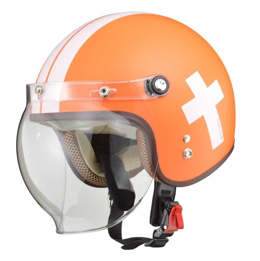リード工業 ジェットヘルメット NOVIA (ノービア) クロスオレンジ レディースフリーサイズ (55-57cm未満)