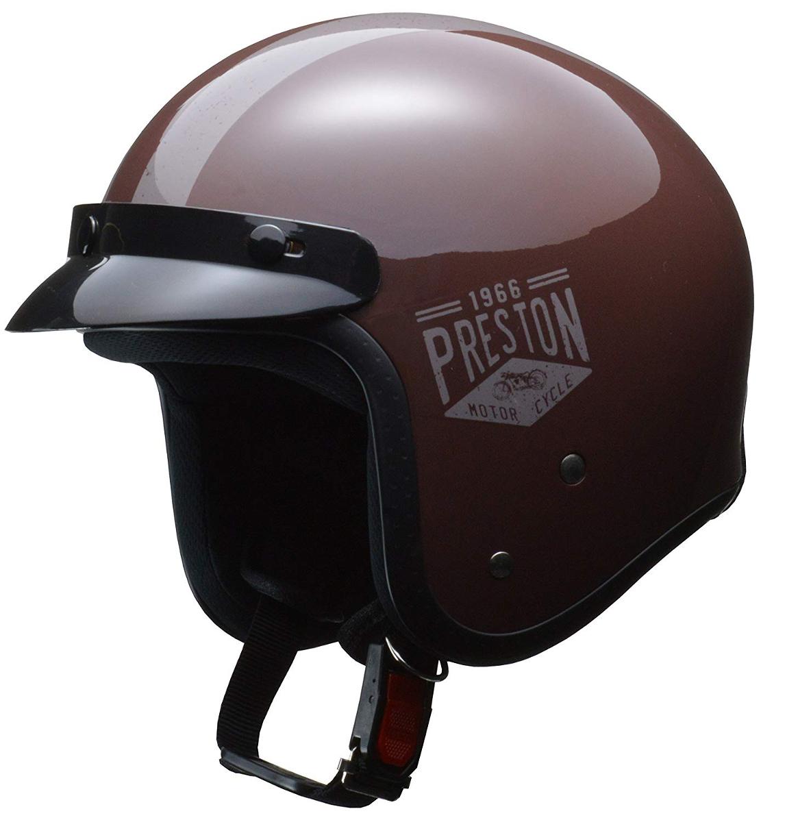 リード工業 ジェットヘルメット PRESTON (プレストン) ブラウン フリーサイズ (57-60cm未満)