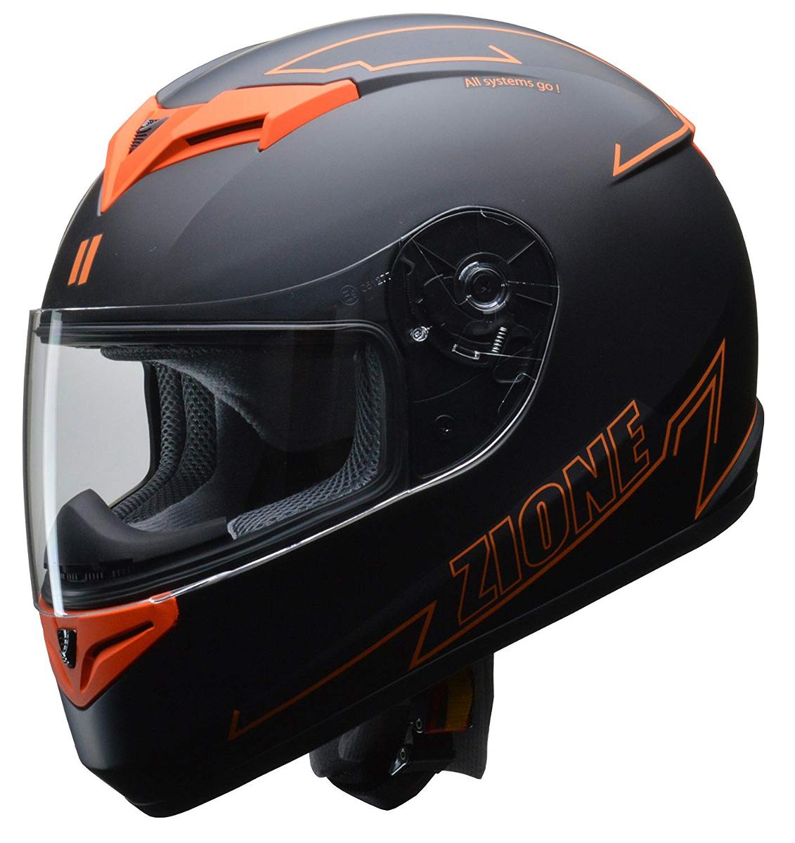 リード工業 フルフェイスヘルメット ZIONE (ジオーネ) オレンジ Lサイズ (59-60cm未満)