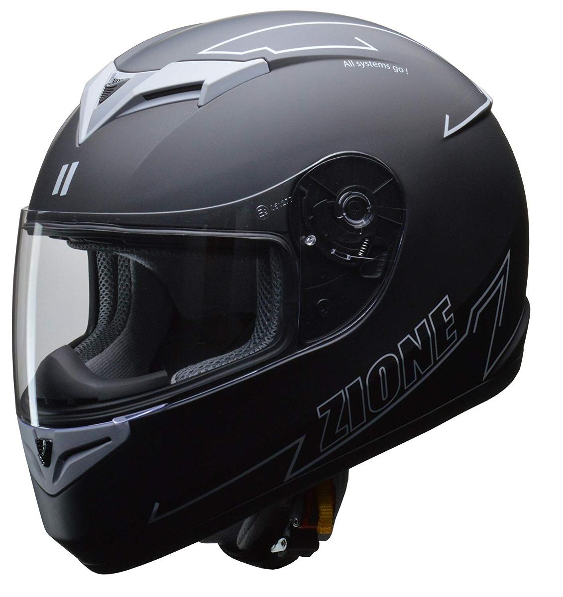 リード工業 フルフェイスヘルメット ZIONE (ジオーネ) グレー Lサイズ (59-60cm未満)