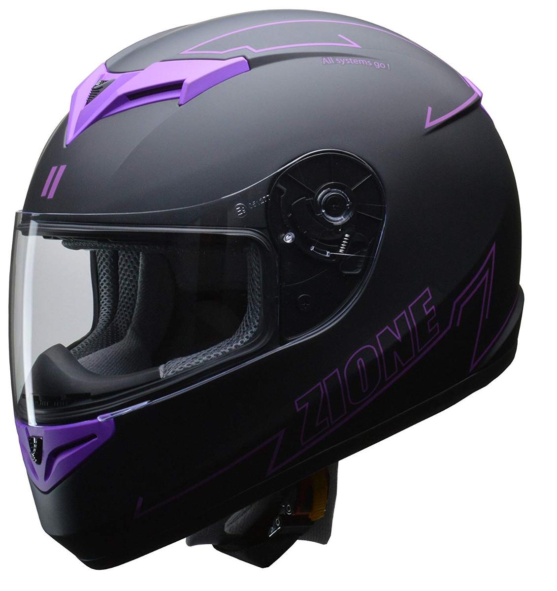 リード工業 フルフェイスヘルメット ZIONE (ジオーネ) パープル Mサイズ (57-58cm未満)
