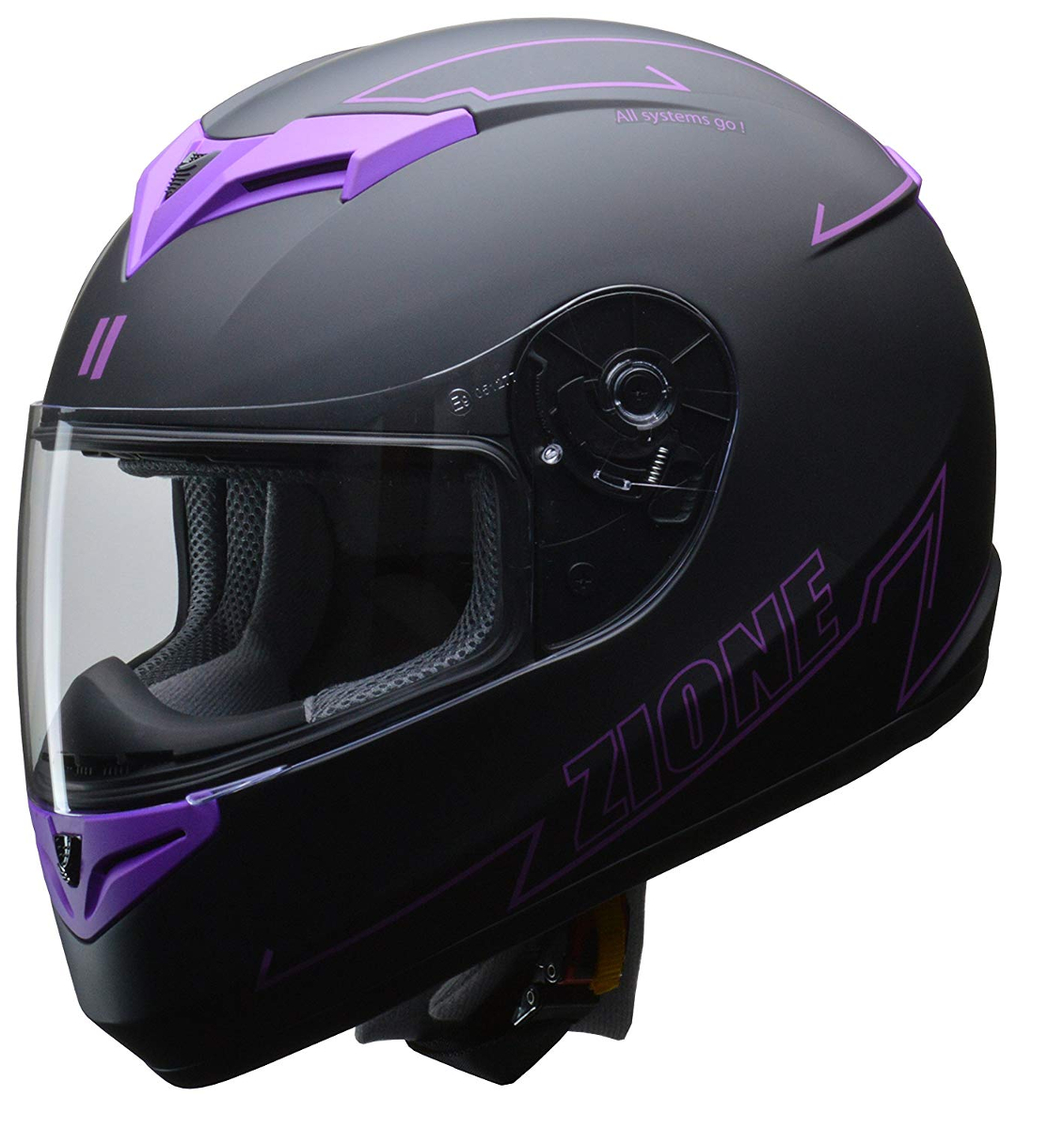 リード工業 フルフェイスヘルメット ZIONE (ジオーネ) パープル Lサイズ (59-60cm未満)