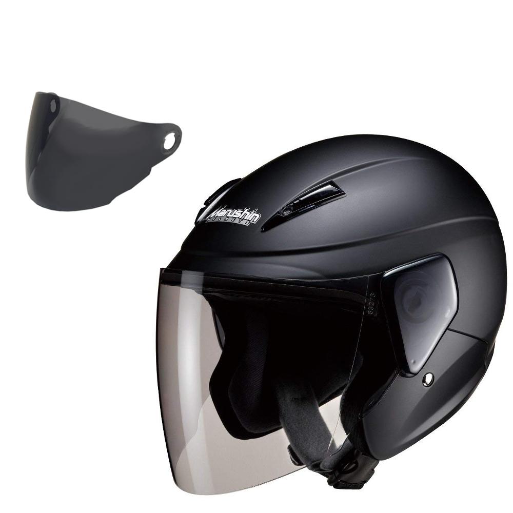 【スモークシールド セット商品】 マルシン(MARUSHIN) バイクヘルメット セミジェット M-520 マットブラック フリーサイズ (57-60cm未満)