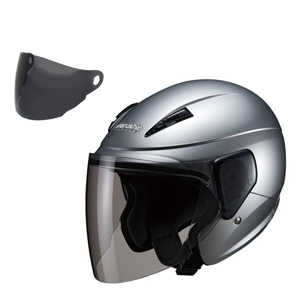 【スモークシールド セット商品】 マルシン(MARUSHIN) バイクヘルメット セミジェット M-520 シルバー フリーサイズ (57-60cm未満)
