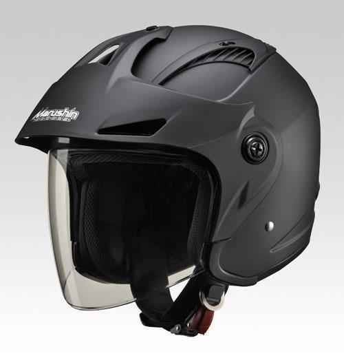 マルシン(Marushin) バイクヘルメット ジェット バイザー付き M-385 マットブラック フリーサイズ (57~60cm)