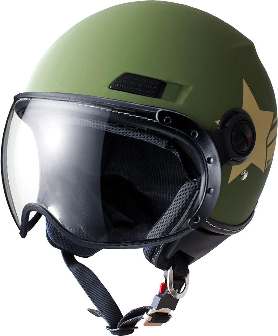 マルシン(Marushin) バイクヘルメット ジェット SAFIT MS-340 アーミースター カーキー Lサイズ (59~60cm)