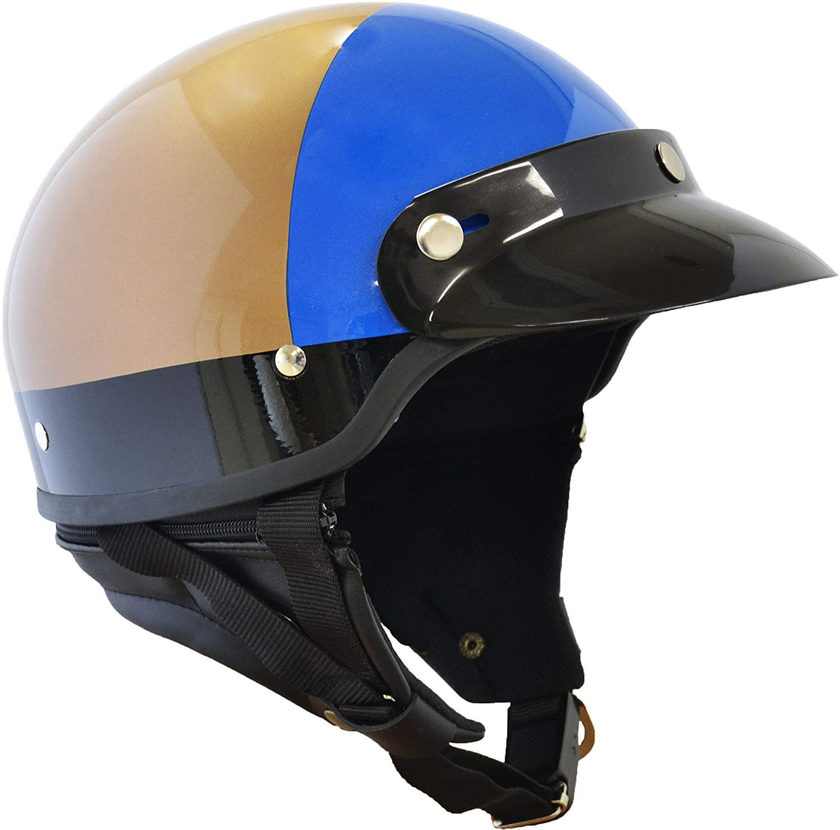 マルシン(Marushin) バイクヘルメット ハーフ MP-110 U.S.A POLICE STYLE ゴールド/ブルー フリーサイズ (57~60CM未満)