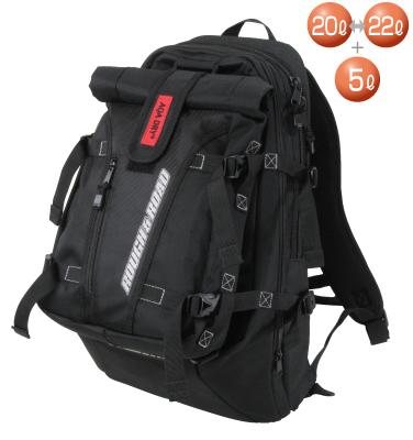 ROUGH&ROAD (ラフ&ロード) バイク用 リュック ダブルバックパック ブラック 20L~22L RR9406BK