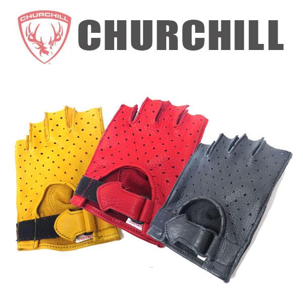【 Churchill】チャーチル 鹿革フィンガーレスグローブFINGERLESS DEER SKIN GLOVE パンチング 半指