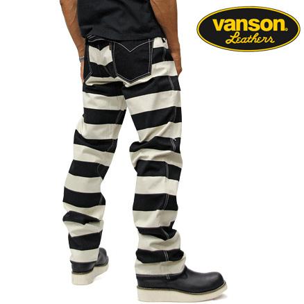 VANSON バンソン ボーダーデニムパンツ BORDER NVBL-404