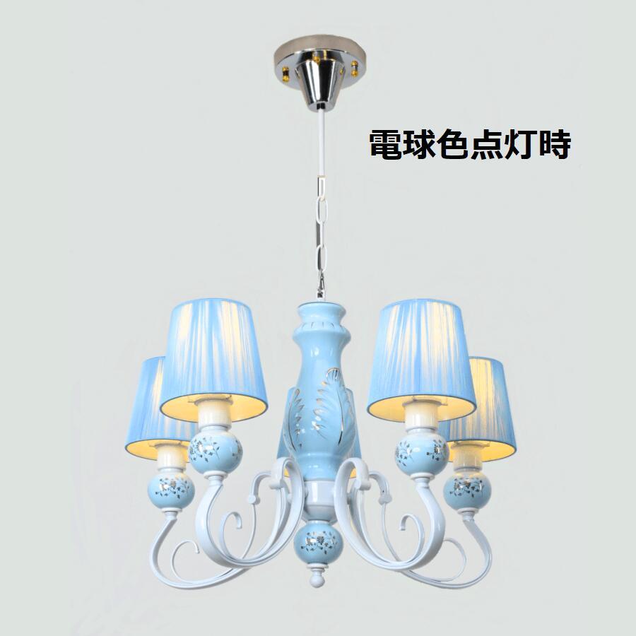 特別価格!赤字覚悟!チェーン付き姫系陶器シェードタイプ シャンデリア 5 灯 ホワイト&ライトブルー 簡易取付式