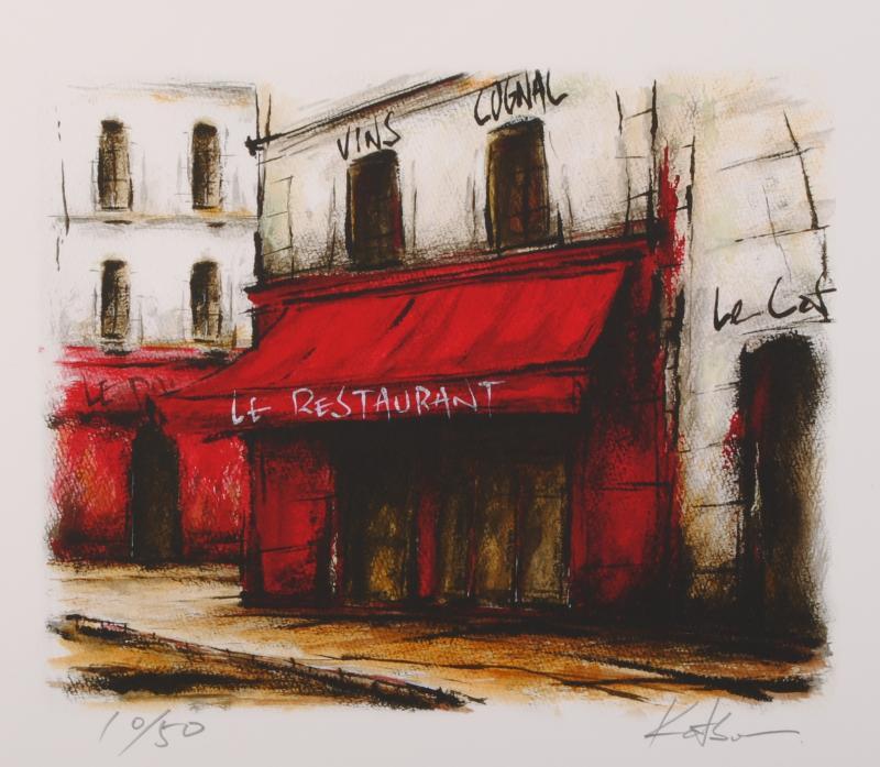 中野克彦さんがジークレーの版画に手彩を加えて制作したパリの街角の絵 赤いひさしのレストラン 70%OFFアウトレット G 送料無料お手入れ要らず は渋い赤のテントの色がとてもインパクトのあるジークレーの版画作品です 作家名 作品名 中野克彦