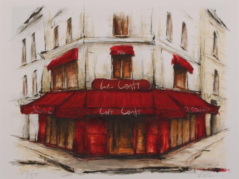 【作家名】中野克彦 【作品名】街角のカフェ・Le Conti