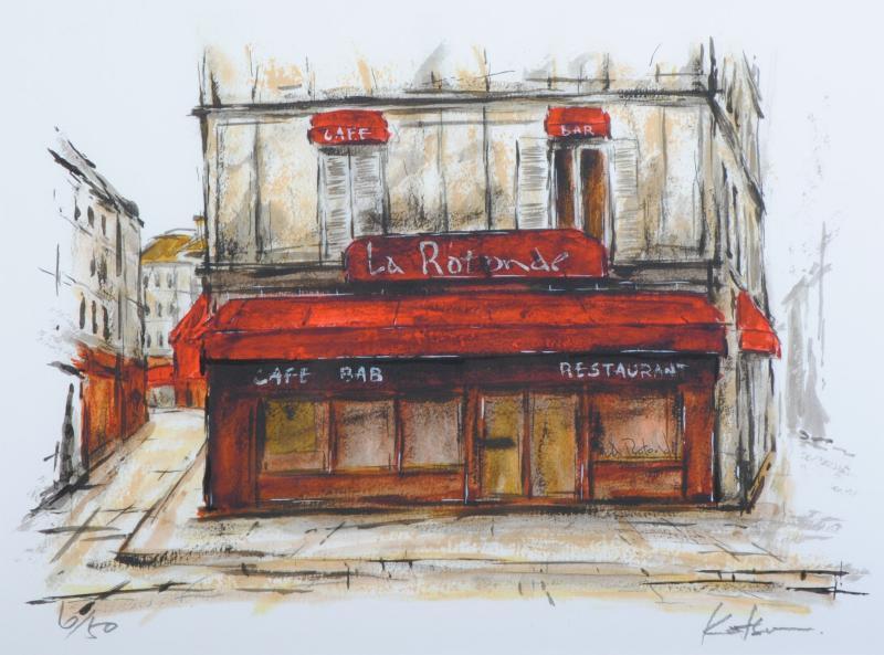 全国一律送料無料 中野克彦さんがジークレーの版画に手彩を加えて制作したパリの街角の絵 La Rotonde は パリの裏通りに実在するカフェ 作品名 rotonde 作家名 レストランをモチーフにしたジークレーの版画作品です 低廉 中野克彦