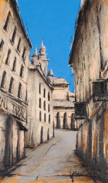 訳あり品送料無料 中野克彦さんが油絵の絵画で描いたスペインの街角の絵 路地の靴屋 は 2015年12月に描かれた新作の油絵です 作家名 作品名 定番 中野克彦