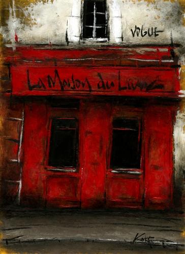 特価品コーナー☆ 中野克彦さんが油絵の絵画で描いたパリの街角 裏通りの本屋 格安激安 2016 は2016年4月に描かれた油絵です 作家名 中野克彦 作品名