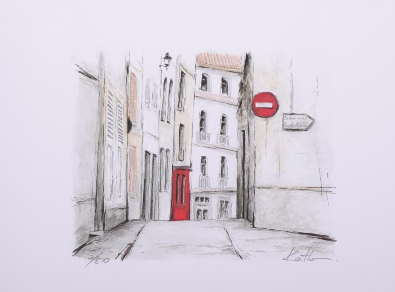【作家名】中野克彦 【作品名】パリの路地裏の通り・1