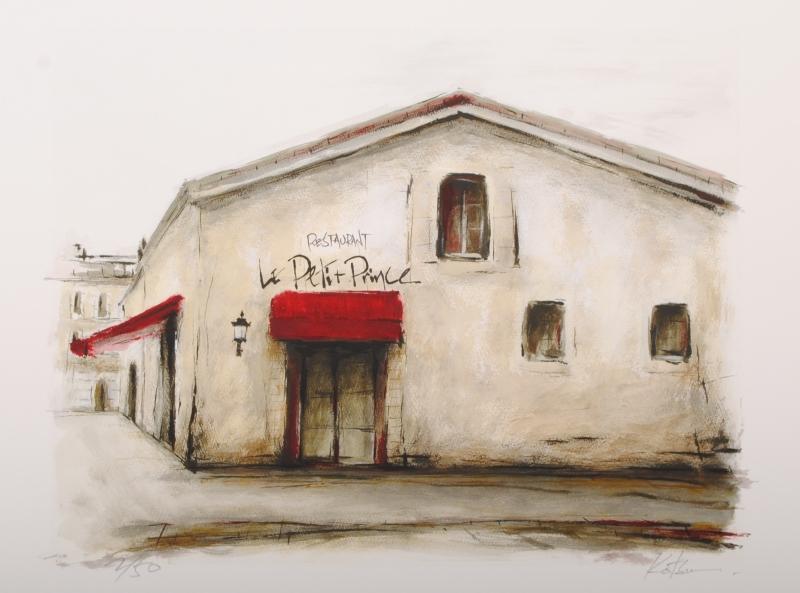 中野克彦さんがジークレーの版画に手彩を加えて制作したパリの街角の絵 レストラン Le 返品不可 Petit Prince 作品名 2013年7月に制作されたジークレーの版画作品です は 中野克彦 今だけ限定15%OFFクーポン発行中 作家名