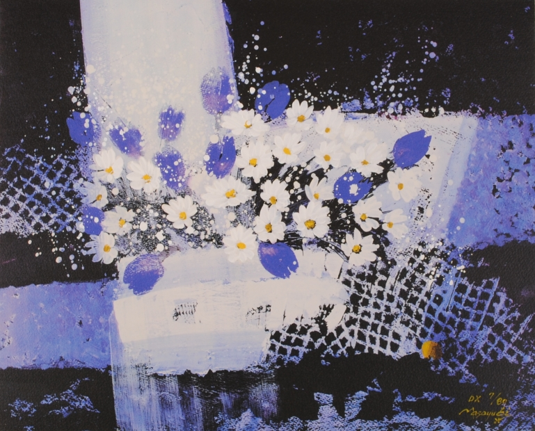 武井政之さんがリトグラフの版画で制作した花の絵 静寂の音を聴きながら ふるさと割 DX は 武井政之 作家名 作品名 未使用 2001年4月にリリースされた花の絵のリトグラフです