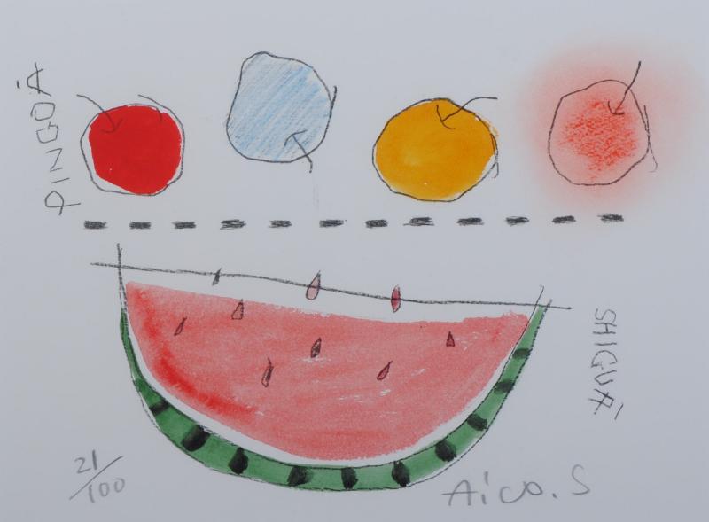 杉田明維子さんがリトグラフの版画で制作したポップアート アカイタネノシーグワトビングワ 期間限定 は天真爛漫な童画のようなポップアートのリトグラフの版画作品です 杉田明維子 スーパーSALE セール期間限定 作家名 作品名