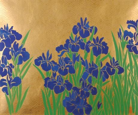ブランド買うならブランドオフ 今井俊満さんがシルクスクリーンの版画で制作した和の花の絵 菖蒲 は 1993年に制作された和の花の絵です 今井俊満 作品名 新作販売 作家名