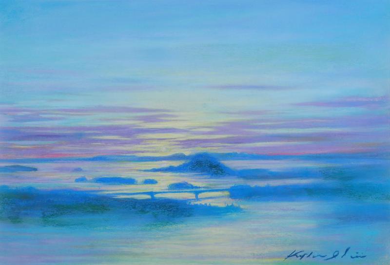 石井清先生がパステル画の絵画で描いた熊本の天草の絵 夕日を望む 専門店 は熊本の天草の美しい夕暮れを描いたパステル画の絵画です 石井清 作家名 驚きの値段 作品名