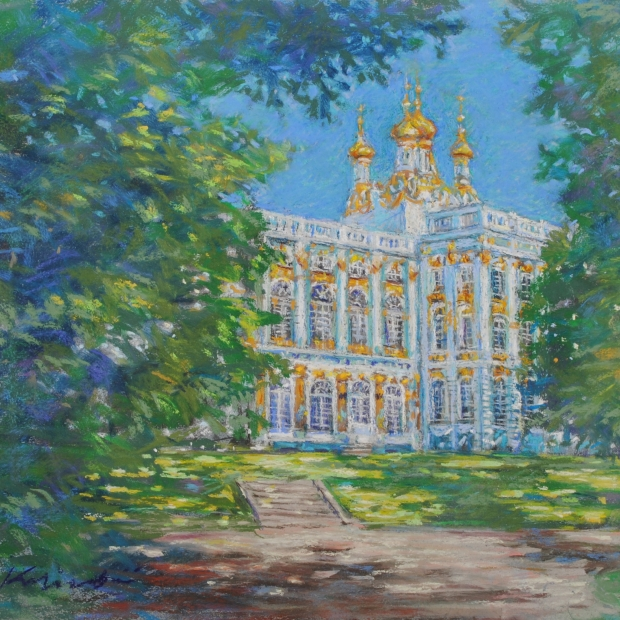 石井清先生がパステル画の絵画で描いたロシアのお城の絵 永遠の定番 エカテリーナ宮殿 は2013年4月にリリースされたパステル画の絵画です 石井清 作品名 大人気 作家名