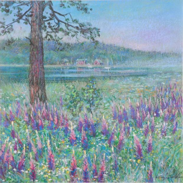石井清先生がパステル画の絵画で描いた北欧の絵 限定Special Price タミサリー 完売 はフィンランドのタミサリーの風景を描いたパステル画の絵画です 石井清 作品名 作家名