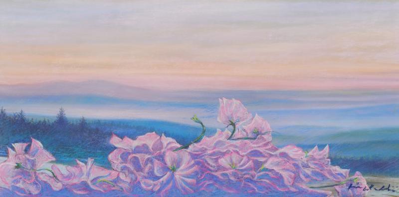 現金特価 石井清先生がパステル画の絵画で描いた花の絵 スイートピー Seasonal Wrap入荷 は美しい北欧の風景を背景にして 桃色の優美で可憐なスイートピーの花を描いたパステル画の絵画です 作家名 作品名 石井清