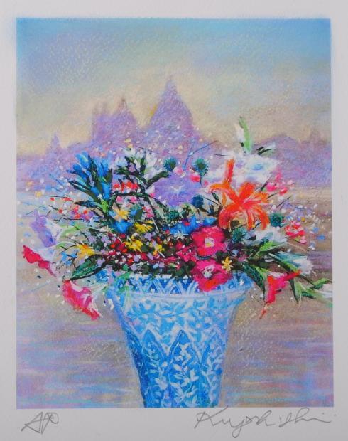 石井清先生がジークレーの版画に手彩を加えて制作した花の絵 ベニスの花 はベネチアン グラスに活けられた花々が その美しさを競い合っているようなジークレーの版画です 作家名 石井清 ファッション通販 交換無料 作品名