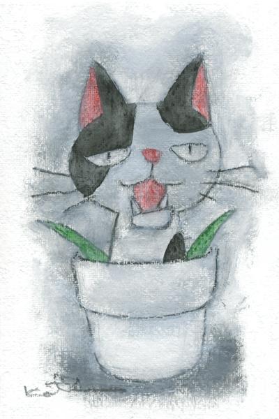 【作家名】香月和夫 【作品名】ブチ鉢猫